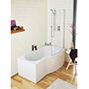 Lauren Curved B-Shaped 1500 x 900mm Right Hand Acrylic Shower Bath Pack small Image 4
