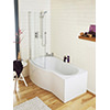 Lauren Curved B-Shaped 1700 x 900mm Left Hand Acrylic Shower Bath Pack small Image 4