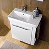 Twyford E200 650 x 370mm 1 Tap Hole Washbasin With Right Hand Shelf small Image 4