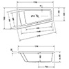 Duravit Paiova 1700 x 1000mm Right-Left Backrest Slope Bath small Image 4